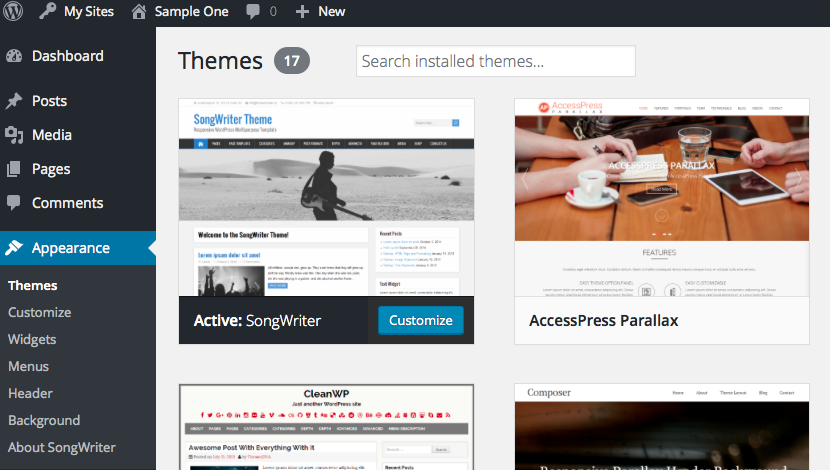 Themes in Dashboard.